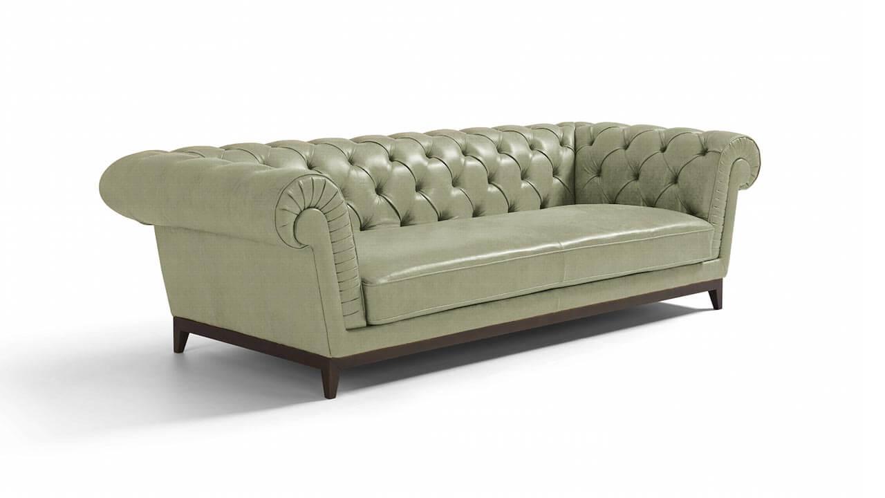 Concerto Large 3 Seater Italian Leather Sofa Grey
