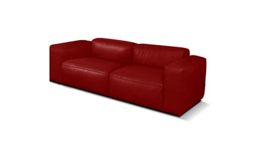 Lanza 2 Seater Leather Sofa   Red