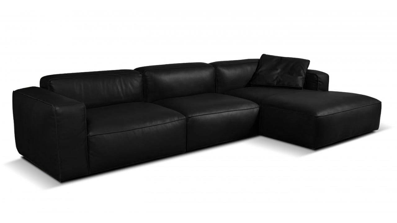 Lanza 3 seater leather chaise sofa vavicci fine home for Black leather chaise sofa