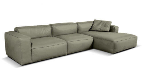 Lanza 3 Seater Leather Chaise Sofa   Grey (Right Chaise)