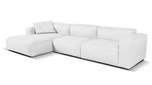 Lanza 3 Seater Leather Chaise Sofa White Left
