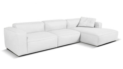Lanza 3 Seater Chaise Sofa Right White