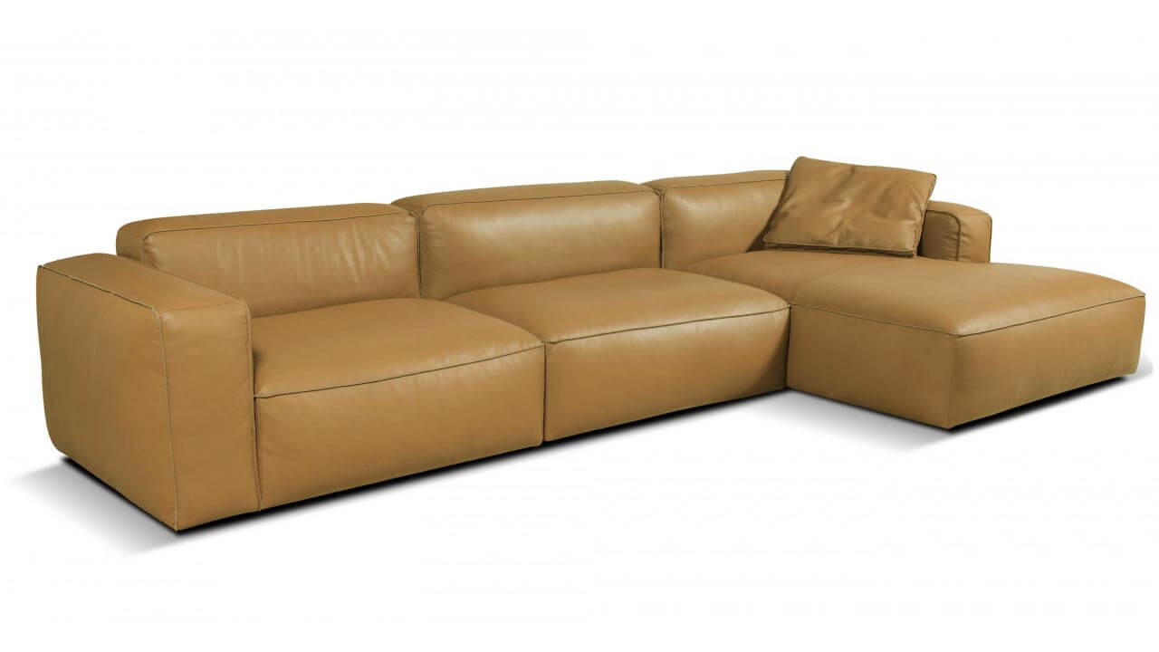 Lanza Large 3 Seater Leather Chaise Sofa Vavicci Fine